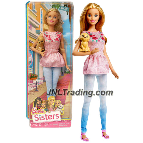 Mattel Year 2014 Barbie Sisters Series 12 inch Doll - BARBIE (CLF97) in Floral Pink Top and Blue Pants with Golden Retriever Puppy Dog