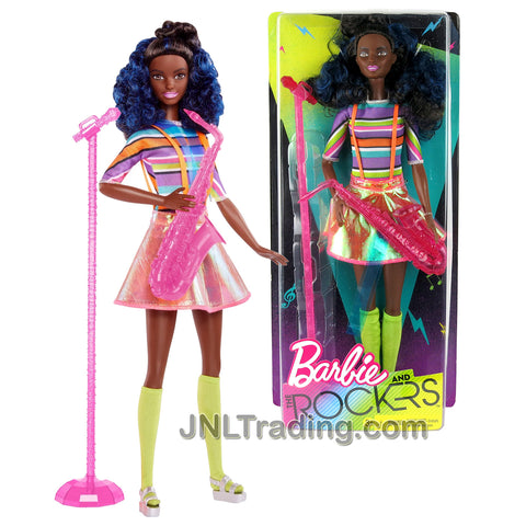 Year 2017 Barbie and The Rockers Series 12 Inch Doll - African American SAXOPHONIST with Saxophone and Microphone with Stand