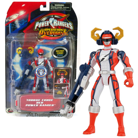 Bandai Year 2006 Power Rangers Operation Overdrive Series 5-1/2 Inch Tall Action Figure - TORQUE FORCE RED POWER RANGER with Robo Mode Helmet and Weapon