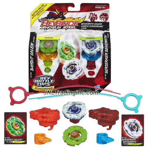 "Hasbro Year 2013 Beyblade Shogun Steel Bey Battle Tops ""Behemoth Golem Earth Synchrome"" 2 Pack Set - Defense DF145BS SS-20A BANDIT GOLEM with Golem Warrior Wheel, Bandit Element Wheel, DF145 Track, BS Tip and Stamina F230TB SS-102 BERSERKER BEHEMOTH with Behemoth Warrior Wheel, Berserker Element Wheel, F230 Track, TB Tip Plus 2 Ripcord Launcher and Online Code"