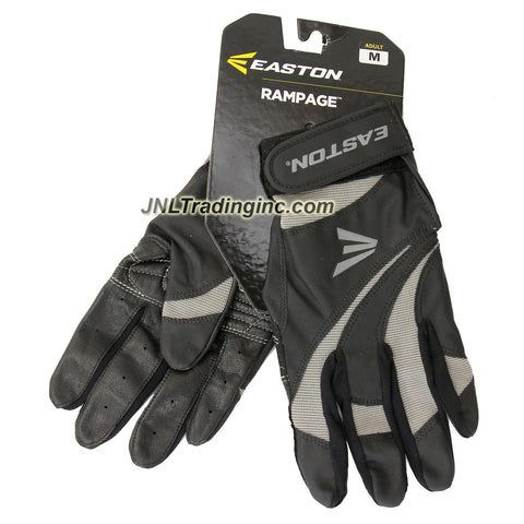 Easton Rampage Series Adult Baseball Softball Batting Glove - Color: Black and Grey, Size: M