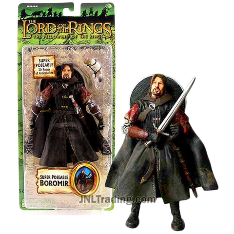Year 2004 Lord of the Rings Fellowship of the Ring Series 7 Inch Tall Figure - BOROMIR with 30 Pts of Articulation Plus Shield, Dagger, Sword and Horn
