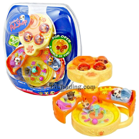 Year 2006 Littlest Pet Shop LPS Teeniest Tiniest Series Mini Figure Set with  3 Dog Mini Figures and Pop Open On the Go Dog Park Case