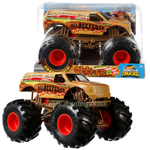 Hot Wheels Year 2018 Monster Trucks 1:24 Scale Die Cast Metal Body Official Truck Series - ALL BEEFED UP GBV41 with Giant Wheels and 4 Wheel Steering