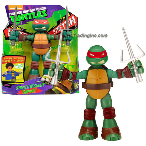 Playmates Year 2014 Nickelodeon Teenage Mutant Ninja Turtles 8-1/2 Inch Tall Electronic Action Figure - STRETCH 'N' SHOUT RAPHAEL with 2 Sais Plus Stretch and Sound FX