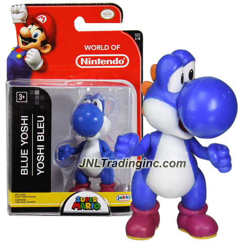 "Jakks Pacific Year 2015 World of Nintendo ""Super Mario"" Series 3 Inch Tall Mini Figure - BLUE YOSHI"