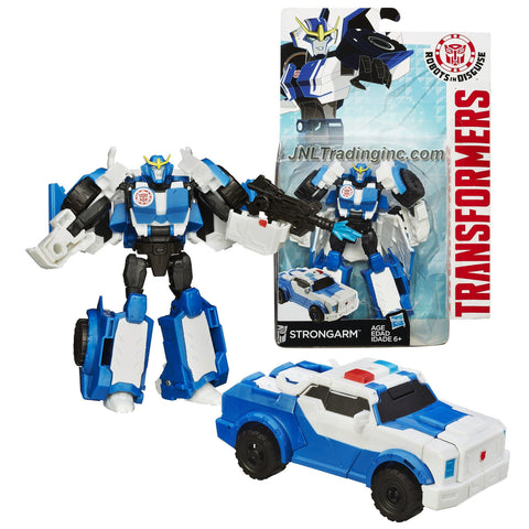 Hasbro Year 2014 Transformers Robots in Disguise Animation Series Deluxe Class 5 Inch Tall Robot Action Figure - Autobot STRONGARM with Blaster Rifle (Vehicle Mode: Police Car)