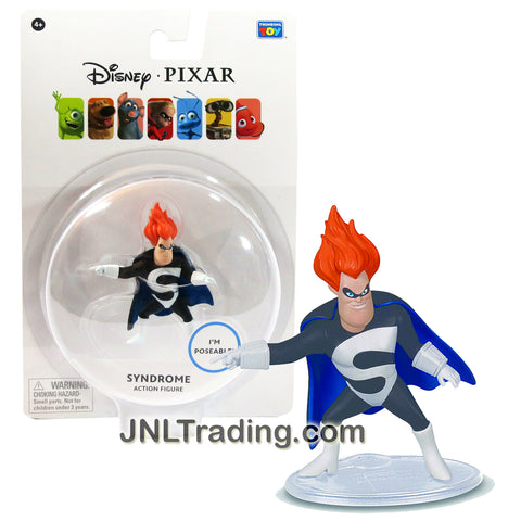 Thinkway Toys Disney Pixar The Incredibles Movie Series 2-1/2 Inch Tall Poseable Action Figure - SYNDROME with Display Base