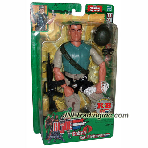 Hasbro Year 2003 GI JOE A Real American Hero Spy Troops Series 11 Inch Tall Soldier Figure - SERGEANT AIRBORNE with Shoulder Sling, Camo Pants, Rappel Harness, Rope, Helmet, Goggles, M4 Machine Gun and Boots