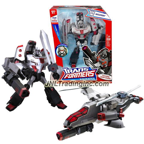 Hasbro Year 2007 Transformers Animated Series Leader Class 10 Inch Tall Robot Action Figure with Electronic Lights and Sounds - Decepticon MEGATRON with Conversion Sounds, Helicopter Blades that Become Swords and Fusion Missile Launcher (Vehicle Mode: Attack Helicopter)