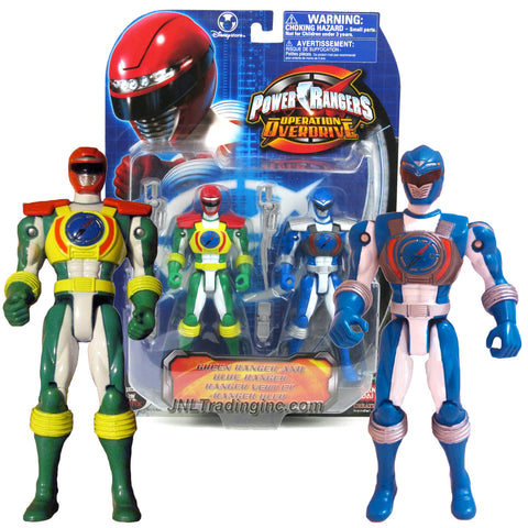 Bandai Year 2007 Power Rangers Operation Overdrive Series 2 Pack 6 Inch Tall Action Figure Set - GREEN RANGER and BLUE RANGER with 2 Swords and 2 Morphers