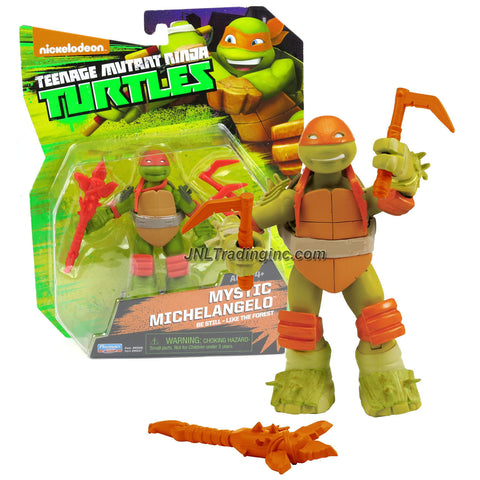 Playmates Year 2014 Nickelodeon Teenage Mutant Ninja Turtles 5 Inch Tall Action Figure : Be Still - Like the Forest MYSTIC MICHELANGELO with Twin Kama and Battle Axe