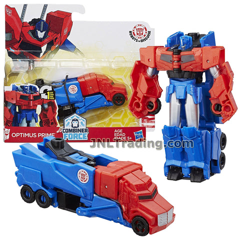 Transformers Year 2016 Transformers Robots In Disguise Combiner Force 1 Step Changer 5 Inch Tall Figure - OPTIMUS PRIME (Vehicle Mode: Rig Truck)