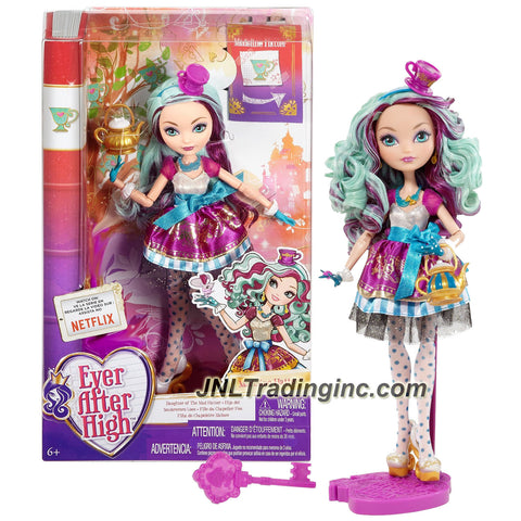 Mattel Year 2015 Ever After High Story Series 11 Inch Doll Set - Daughter of the Mad Hatter MADELINE HATTER (BBD43) with Purse, Hairbrush & Doll Stand