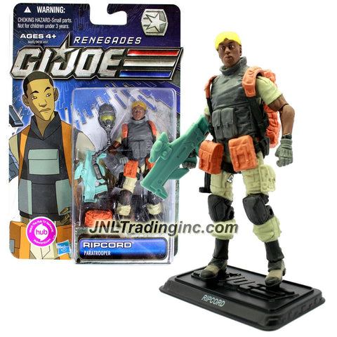 Hasbro Year 2011 G.I. JOE Renegades Series 4 Inch Tall Action Figure - Paratrooper RIPCORD with Plasma Pulse Rifle, Pistol, Helmet, Backpack, Goggles and Display Stand
