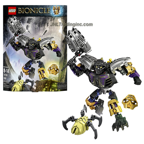 Lego Year 2015 Bionicle Series 8 Inch Tall Figure Set #70789 - ONUA Master of Earth with 4 Golden Shells, Tribal Chest Decoration, Convertible Earthquake Hammer/Turbo Shovelers, Wheel-Operated Bashing Battle Arm Function Plus Golden Mask of Earth and a pale green Skull Spider (Total Pieces: 108)