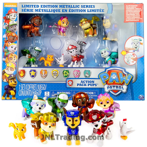 Year 2015 Paw Paws Patrol Limited Edition Metallic Series Dog Figure - Action Pack Pups with Chase, Marshall, Skye, Zuma, Rocky, Everest and Rubble Plus Itty Bitty Kitty and Chickaletta