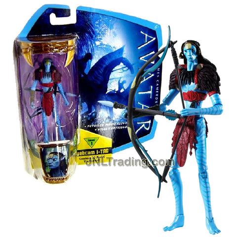 Year 2009 James Cameron's Avatar Highly Articulated Detailed 4 Inch Tall Movie Replica Action Figure - Na'vi Eytukan with Bow and Arrow Plus Level 1 Webcam i-Tag