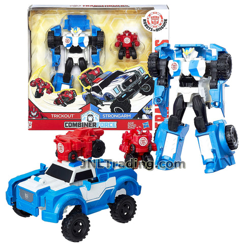 Transformers Year 2016 Robots in Disguise Combiner Force Series 5-1/2 Inch Tall Figure Activator Set - STRONGARM (8 Step Changer) with TRICKOUT(1 Step Changer)