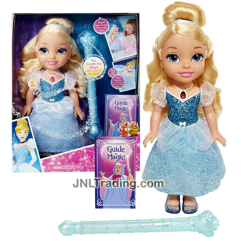 "Jakks Pacific Year 2016 Disney Princess Series 14 Inch Electronic Doll - MAGICAL WAND CINDERELLA with Wand and ""The Fairy Godmother's Guide to Magic"""