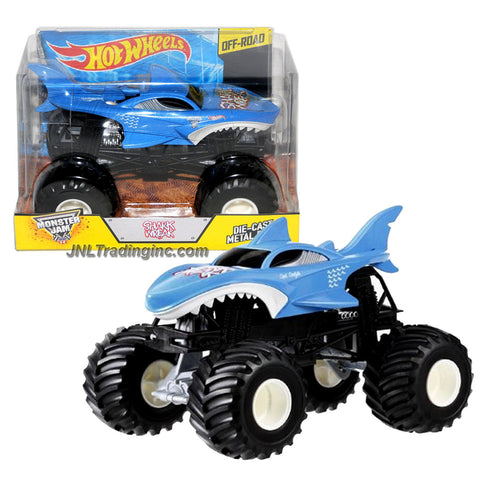 "Hot Wheels Year 2015 Monster Jam 1:24 Scale Die Cast Metal Body Official Monster Truck Series #CJD20 - SHARK WREAK with Monster Tires, Working Suspension and 4 Wheel Steering (Dimension : 7"" L x 5-1/2"" W x 4-1/2"" H)"