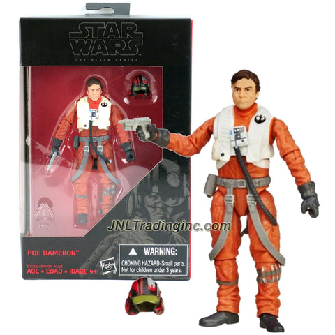 Hasbro Year 2015 Star Wars The Black Series Exclusive 4 Inch Tall Action Figure - POE DAMERON (B5008) with Blaster and Pilot Helmet