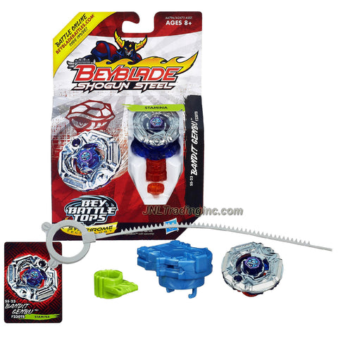 Hasbro Year 2013 Beyblade Shogun Steel Bey Battle Tops with Synchrome Technology - Stamina F230TB SS-23 BANDIT GENBU with Shogun Face Bolt, Genbu Warrior Wheel, Bandit Element Wheel, F230 Spin Track, TB Performance Tip and Ripcord Launcher Plus Online Code