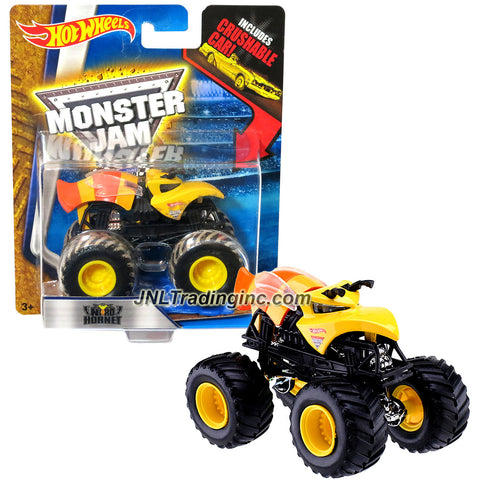 "Hot Wheels Year 2014 Monster Jam 1:64 Scale Die Cast Truck - NITRO HORNET (DMK96) with Blue Crushable Car (Dimension : 3-1/2"" L x 2-1/4"" W x 2-1/2"" H)"