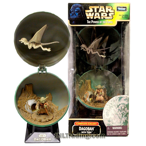 Star Wars Year 1998 The Power of the Force Complete Galaxy Series 5 Inch Diameter Planet Set - DAGOBAH with Flying Creature and Yoda with Gimer Stick