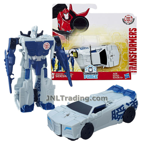 Transformers Year 2016 Transformers Robots In Disguise Combiner Force 1 Step Changer 5 Inch Tall Figure - Blizzard Strike SIDESWIPE (Vehicle Mode: Sports Car)