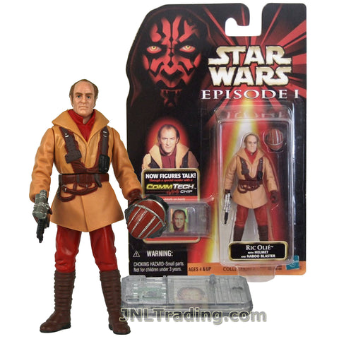 Star Wars Year 1998 The Phantom Menace Series 4 Inch Tall Figure - Pilot RIC OLIE with Helmet, Naboo Blaster and CommTech Chip