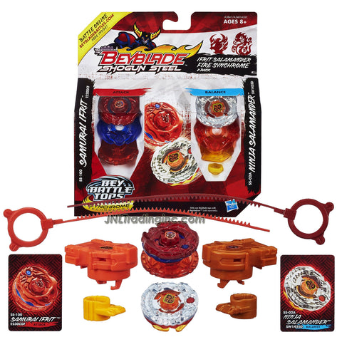 "Hasbro Year 2012 Beyblade Shogun Steel Bey Battle Tops ""Ifrit Salamander Fire Synchrome"" 2 Pack Set - Attack E230GCF SS-100 SAMURAI IFRIT with E230 Spin Track, GCF Performance Tip and Balance SW145SD SS-02A NINJA SALAMANDER with SW145 Spin Track and SD Performance Tip Plus 2 Ripcord Launcher and Online Code"
