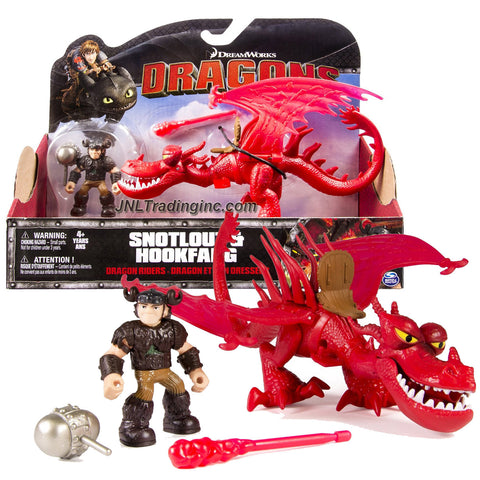 "Spin Master Year 2015 Dreamworks ""Dragons - Dragon Riders"" Series 8 Inch Long Dragon Figure Set - HOOKFANG with Fire Missile and Snotlout with Battle Mace"
