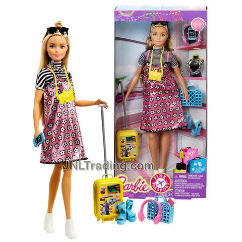 Year 2017 Barbie Pink Passport Series 12 Inch Doll - Caucasian Traveler with Camera, Sunglasses, Headphones, Phone, Necklace, Rolling Suitcase, Purse and Extra Pair of Shoes