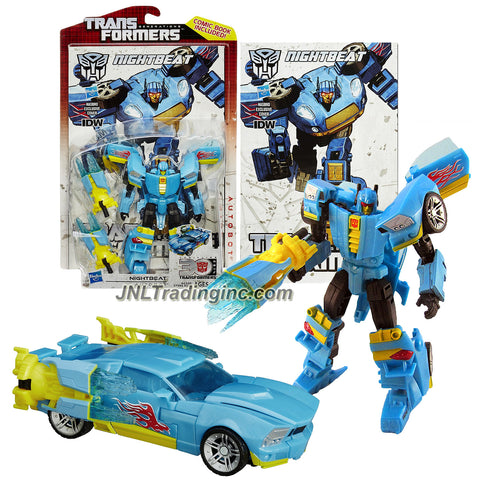 Transformer Year 2014 Generations Thrilling 30 Series  Deluxe Class 5-1/2 Inch Tall Figure - Autobot NIGHTBEAT with 2 Cannon Blaster Plasma Swords (Vehicle Mode: Sports Car)