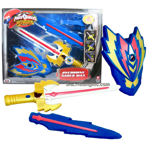 Bandai Year 2006 Power Rangers Operation Overdrive 16 Inch Electronic Weapon Set - OVERDRIVE SABER MAX with Sword, Thunder Bolt and Shield that Combines Plus Light and Sounds FX