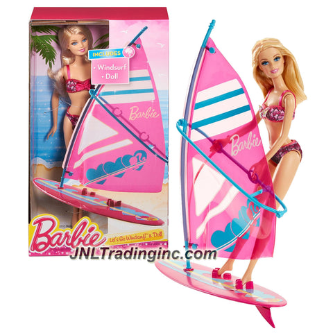 Mattel Year 2013 Barbie Beach Series 12 Inch Doll Set - LET'S GO WINDSURF! (CCV23) with Barbie Doll and Windsurf