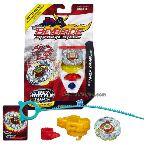 Hasbro Year 2013 Beyblade Shogun Steel Bey Battle Tops with Synchrome Technology - Attack WA130HF SS-24 THIEF ZIRAGO with Shogun Face Bolt, Zirago Warrior Wheel, Thief Element Wheel, WA130 Spin Track, HF Performance Tip and Ripcord Launcher Plus Online Code
