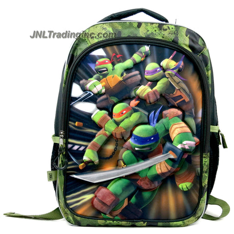 Accessory Innovations Teenage Mutant Ninja Turtles School Backpack with 3-D Foam Image of Leonardo, Michelangelo, Raphael & Donatello Plus 2 Compartments, 2 Side Pocket, Name Tag Pocket & Adjustable Padded Shoulder Straps