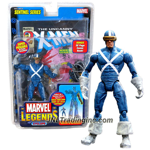 ToyBiz Year 2005 Marvel Legends Sentinel Series 7 Inch Action Figure - White X-Stripes Variant CYCLOPS with Super Poseable 32 Points of Articulation Plus Display Base, Sentinel's Left Arm and Bonus 32 Page Comic Book