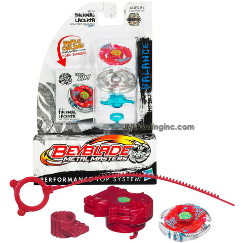 Hasbro Year 2010 Beyblade Metal Masters High Performance Battle Tops - Balance WA130HF BB-74 THERMAL LACERTA with Face Bolt, Lacerta Energy Ring, Thermal Fusion Wheel, WA130 Spin Track, HF Performance Tip and Ripcord Launcher Plus Online Code