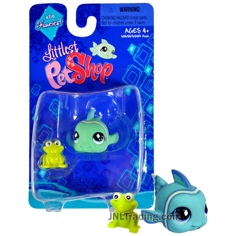 Year 2008 Littlest Pet Shop LPS Single Pack Fanciest Series Bobble Head Figure Set - CLOWNFISH #718 with Frog
