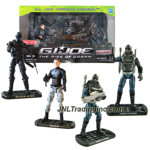 "Hasbro Year 2009 G.I. JOE Movie Series ""The Rise of Cobra"" Exclusive 4 Pack 4 Inch Tall Action Figure Set - GI JOE RESCUE MISSION with Ninja Commando SNAKE EYES, CONRAD ""DUKE"" HAUSER, and 2 Cobra Naval Officer NEO-VIPER Plus 3 Missile Launchers, 3 Missiles and More Weapon Accessories"