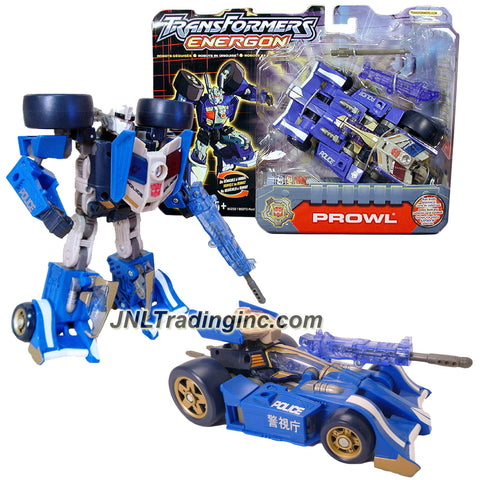 Hasbro Year 2003 Transformers Energon Powerlinx Series 6 Inch Tall Robot Action Figure - Autobot PROWL with Missile Launcher, 1 Missile and Collector Card (Vehicle Mode: Formula One Police Car)
