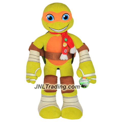 Just Play Year 2016 Nickelodeon Teenage Mutant Ninja Turtles TMNT 34 Inch Tall Plush Figure - MICHELANGELO with Christmas Scarf