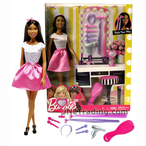 Barbie Year 2016 Style Your Way Series 12 Inch Doll Set - NIKKI FCH74 with Mirror, Headbands, Hair Extnsions, Hair Clips, Hair Dryer and Hairbrush