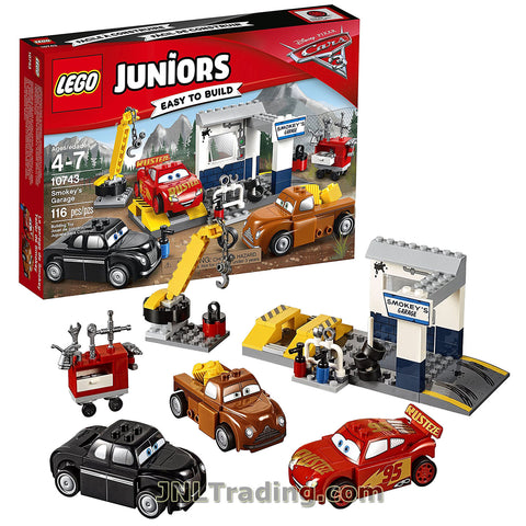 Lego Juniors Year 2017 Cars Series Set #10743 - SMOKEY'S GARAGE with Lightning McQueen, Junior Moon and Smokey (Pieces: 116)