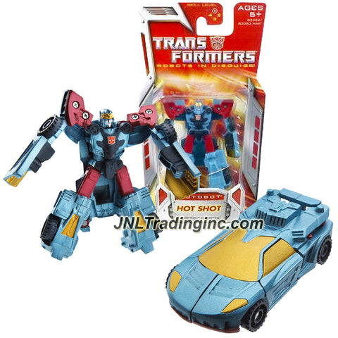 Hasbro Year 2007 Transformers Classic Series Legends Class 3 Inch Tall Robot Action Figure - Autobot HOT SHOT (Vehicle Mode: Sports Car)