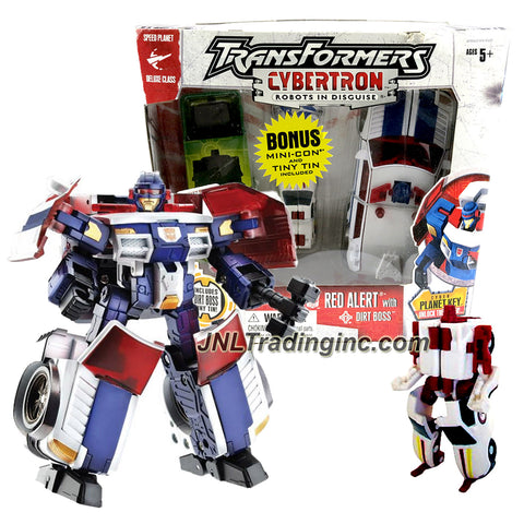 "Hasbro Transformers Cybertron Series Deluxe Class 6"" Tall Figure - RED ALERT with Arm Tools, Cyber Planet Key & Mini-Con DIRT BOSS with Tin Box"