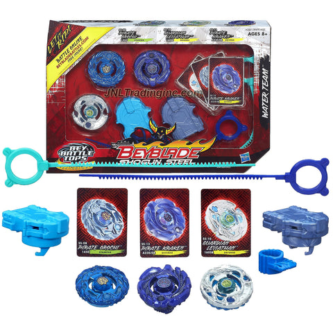 Hasbro Year 2013 Beyblade Shogun Steel Bey Battle Tops Water Team 3 Pack Set - Stamina 145D SS-08 PIRATE OROCHI with 145 Track, D Tip, Defense 160SB SS-10 GUARDIAN LEVIATHAN with 160 Track, SB Tip and A230JSB SS-13 PIRATE KRAKEN with A230 Track, JSB Tip Plus 2 Ripcord Launcher and Online Code